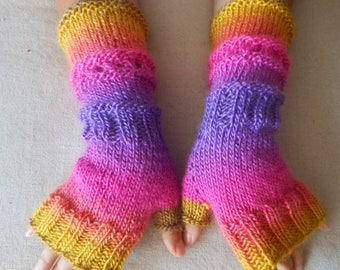 Hand Knitted Fingerless Mittens  Gloves Multi Color Fingerless Long Fingerless  Arm Warmers Winter Gloves
