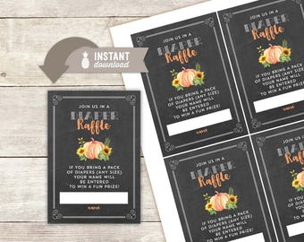 "Diaper Raffle Inserts: Sunflower Pumpkin Gender Reveal Design - 4 (3.5"" x 5"") Cards on an 8.5"" x 11"" Page - Printable File"