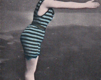 early 1900 Bathing Beauty hand tinted rppc antique postcard – Woman in Bathing Suit