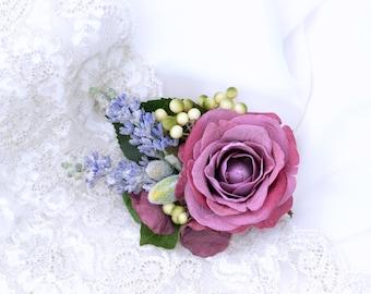 Flower hair piece, Mauve bridal hair clip, Wedding headpiece, Lavender headpiece, Wedding flower hair, Mauve wedding, Rustic hair flower