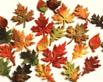 10 x Large colorful felted leaves for crafts and decorate felt autumnal leaves autumn deco