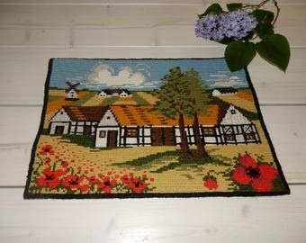 Swedish hand embroidered wall hanging 1970 s /  a house