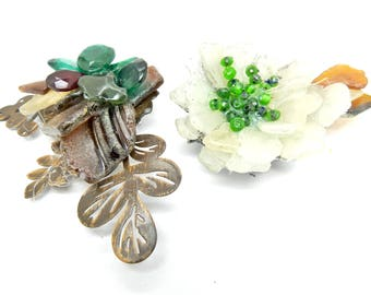 Green large brooches