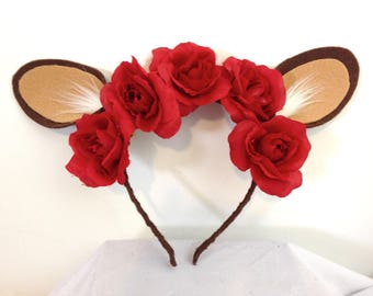 Deer Ears Headband with Red Roses / Fantasy Woodland Creature / Deer Costume - Ready to Ship