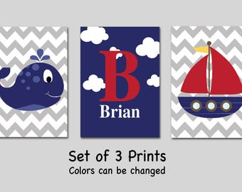 Personalized Nautical Nursery Wall Art - Set of 3 Prints - Sailboat - Whale - Boy Nursery Decor - Bedroom Wall Art - Colors can be changed