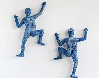 SET of 2 climbing figures, wall decor, wall hanging, Metal art, rock climber, sports decor, Housewarming gift