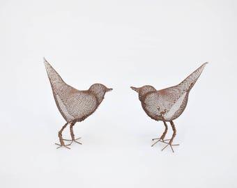 Set of 2 Small metal Bird sculptures, Metal bird figurines, Contemporary metal art, Bird decorations for home, 3d art