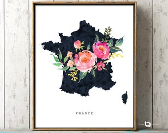 France Map Wall Art, France Map Print, Paris Print, Paris Map Print, France Watercolor Print, France Map Poster, Travel Poster, France Art