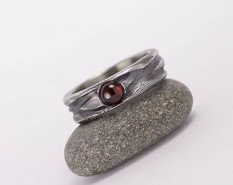 Romantic GARNET Wedding or Engagement Ring, Womens rustic DAMASCUS steel gems ring, mens ring, for woman, for lady - Water Nymph with garnet
