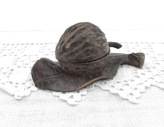 Antique Carved Wooden Black Forest Artisan Walnut and Leaf Shaped Inkwell, Primitive Wood Sculpted Nut 19th Century Curios, Collectible