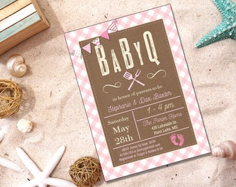 BabyQ Barbeque Invitation | Baby Shower | Printable Editable Digital PDF File | Instant Download | BSI329DIY