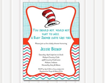 Cat in Hat Invitation | Baby Shower | Printable Editable Digital PDF File | Instant Download | BSI144DIY