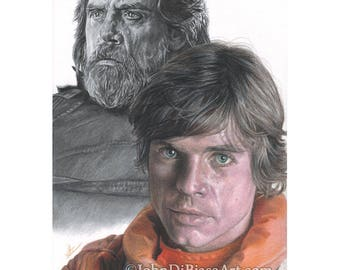 Drawing Print of Colored Pencil Drawing of Mark Hamill as Luke Skywalker in Star Wars (8.5 x 11)