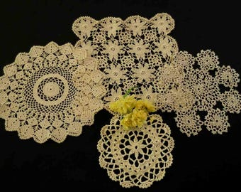 Four Crocheted, Tatted, Doilies