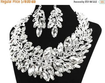 SALE SALE Bridal Statement Necklace, Crystal Bridal Necklace Set, Crystal Wedding Necklace Set, Crystal Evening Necklace   E - 119