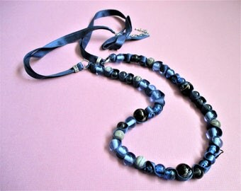Vintage Ribbon Necklace New York and Co Signed Beaded Necklace Clear Blue Glass Beads Navy Blue Glass Beads Adjustable Ribbon Necklace