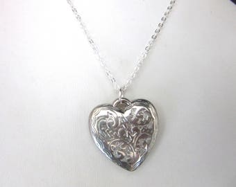 Silver Puffy Heart Pendant Necklace Silver Plated Chain 18 Inches