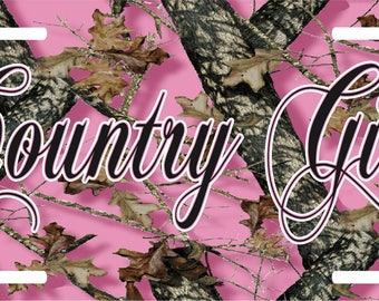 Country Life Girl  Hunting Pink Camo License Plate Car Truck Tag