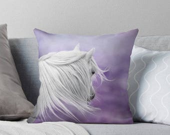 Pillow cover, horse photo pillow, cushion cover, horse pillow cover, purple, lavender, lilac, nursery decor, girls room