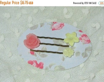 Summer Sale Set of 3 Bobby Pins, Pink Frosted Resin Rose, Pale Yellow Blossom and Pale Yellow Carnation