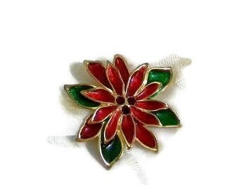 Xmas in July Sale Vintage Pretty Poinsettia Brooch, Red and Green Enamel on Gold Tone with Ruby Red Rhinestones Holiday Christmas