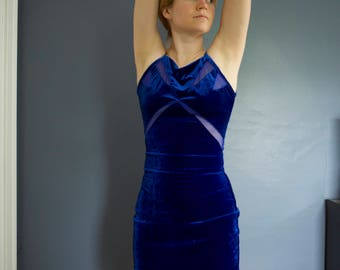 90's royal blue velvet bandage dress, XS
