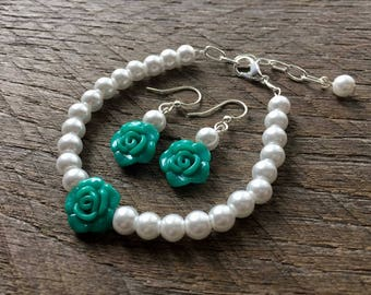 Teal Flower Girl Jewelry Rose, Pearl Bracelet, Pearl Earrings, Single Strand, Simple Pearl Jewelry, Wedding Jewelry, Bridal Party