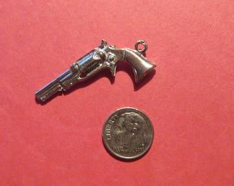 Dozen Pewter Pistol Gun Charms