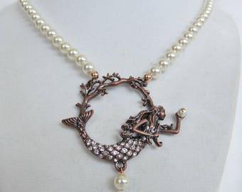 Bronze Mermaid Necklace w/ Pearls, Rhinestones, Rose Gold Filled, Ocean, Beach