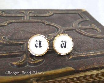 Letter A earrings - Vintage Stamped Letterpress Letters in Vintage Goldtone Posts - Olde English, Gothic