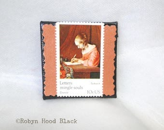 Vintage Postage Stamp Magnet 2 X 2 Letters Mingle Souls - Terborch Woman Writing