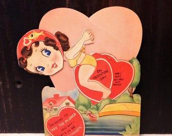 Large Vintage Die Cut Valentine's Day Card, Little Girl Swimming Diving, Bikini, Mechanical Valentine, circa 1930s, CREASED
