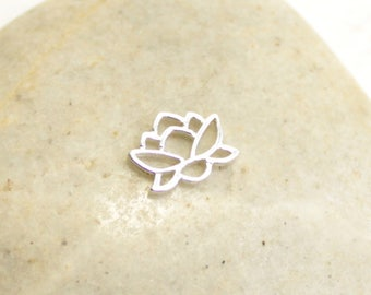Tiny Sterling Silver Blooming Lotus Flower Connector -- 1 Piece