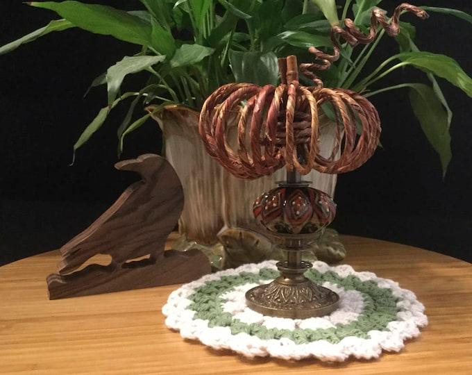 Pumpkin Home Decor ~ (Ceramic Base ~ Rust, Olive, Black and Cream Diamond Pattern)