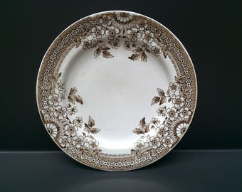 """Antique Brown Transferware Plate, """"FOLEY"""", England, Aesthetic Movement, Staffordshire, Brown Floral, Serving, Wall Display, Ironstone"""