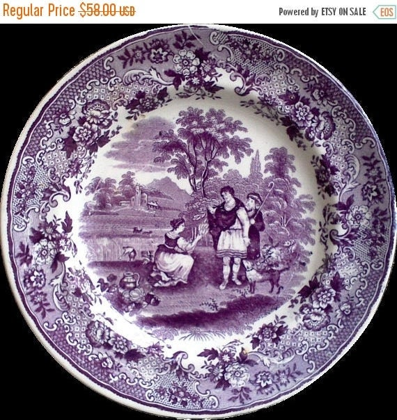 """50% off Antique Purple Mulberry Transferware Plate, 8"""", Ironstone, P. Regout Ruth Boas, Floral, 1800s, English, Plum Display, Wall Decor, Ea"""