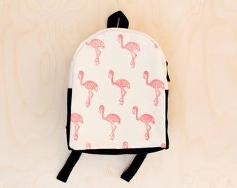 Toddler Backpack, Hand Stamped, Flamingo, Pink and Black, Kids Backpack
