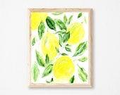Lemon Printable Art, lemon art print, lemon wall art, lemon printable, lemon painting, botanical print, modern print, yellow wall art