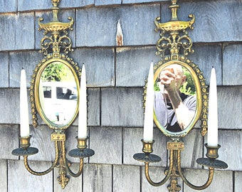 Pair Mirrored Wall Candle Sconces Flamboyant Bohemian Hollywood Regency Lovely Ornate Wall Decor