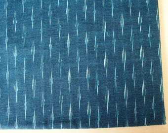 Teal Blue and White Yarn Dyed Close Knit Cotton Ikat  Fabric Sold by Yard