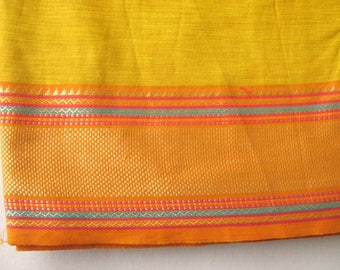 Handloom Cotton Border Fabric in Yellow and Orange Color Sold by Yard