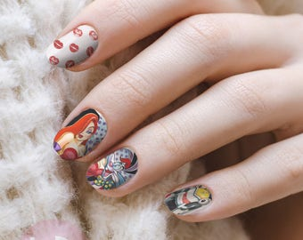Rabbit nail art etsy rogger rabbit nail decal waterslide nail decal nail art nail wrap nail prinsesfo Image collections