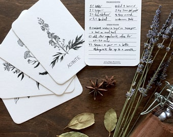 Witch's herbs, recipe card 5-pack, witchy cards, kitchen witch, witch art, green witch, belladonna, yarrow, aconite, mandrake, mugwort