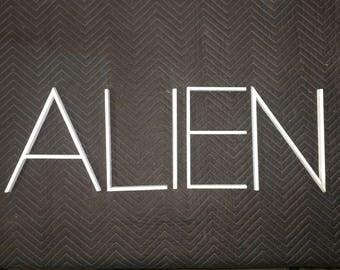"Mid Century Modern Aluminum Letters ""ALIEN"" Vintage"