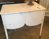 Vintage Metal Double Washbasin Table