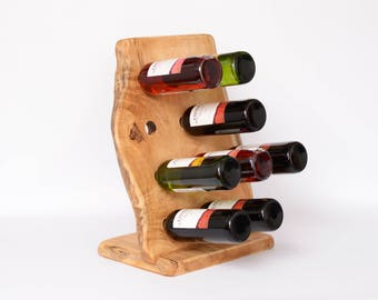 Riddling rack, Natural wood rack, Wooden rack, Live edge wine rack, Standing wine rack, Wine holder, Wine bottle stand, Home decor, Gift