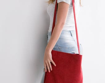 CLEARANCE - Red Leather Tote, Suede Leather Bag, Soft Leather Bag, Crossbody Tote, Lightweight Leather, Magnetic closer, Red Bag, Long Tote
