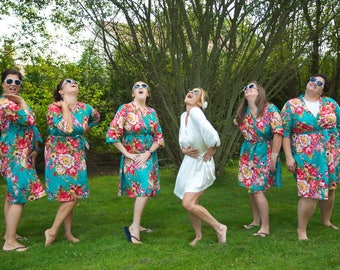 Cotton Floral Robe, Teal Cotton Robes For Bridesmaids, Kimono Robe, Bridesmaid Robe, Gift For Bridesmaid, Hospital Gowns, Bohemian Dress