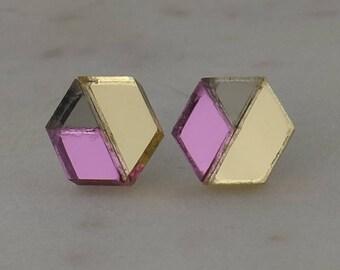 Pink, Gunmetal and Silver Laser Cut Hexagon Geometric Stud Earrings- Gifts for her - Australian Seller