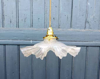 A Vintage french, glass ceiling or pendant light from the 1930s